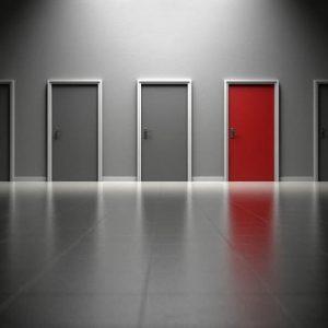 doors with a red door