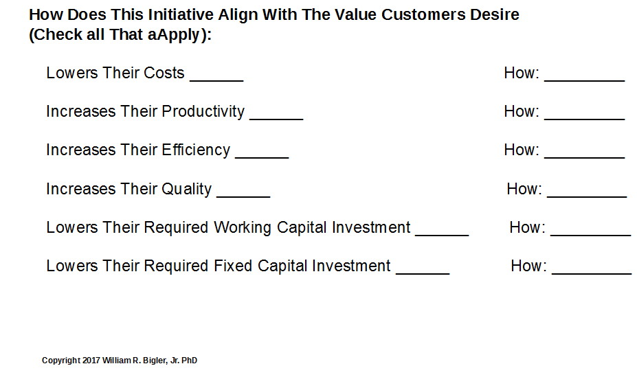 Example Elements of Customer Value